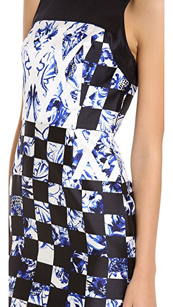 Tibi Rococo Check Sleeveless Panel Dress