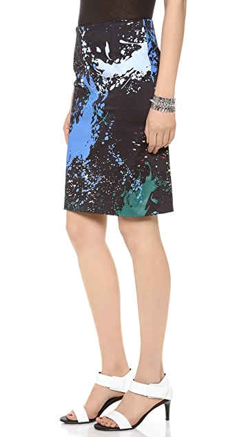 Tibi Splatter Print Pencil Skirt