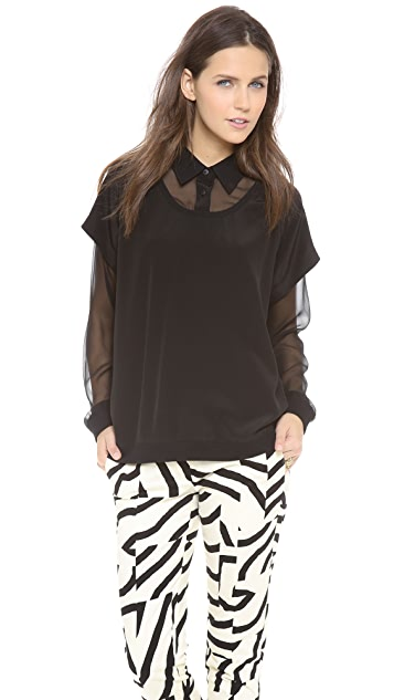 Tibi Double Layer Blouse
