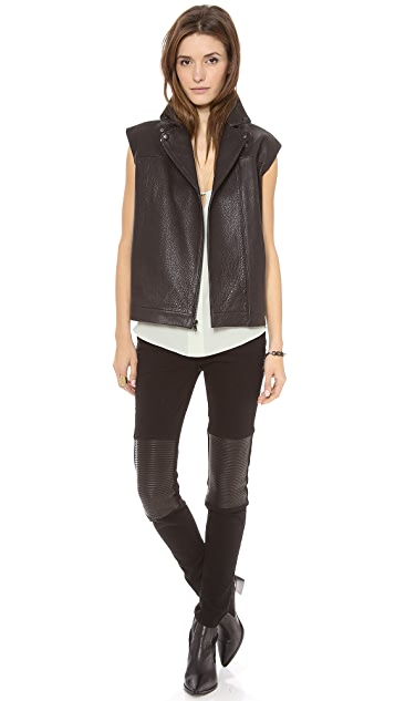 Tibi Oversized Leather Vest