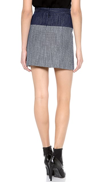 Tibi Denim Basketweave Zip Skirt