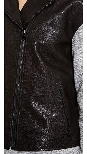 Tibi Freya Leather Combo Moto Jacket