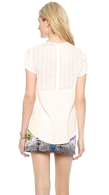 Tibi Openweave Plaid Easy Top