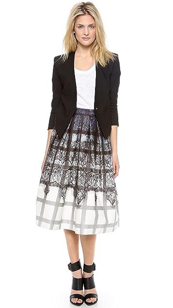 Tibi Lace Plaid Ombre Skirt