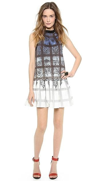 Tibi Lace Plaid Ombre Dress