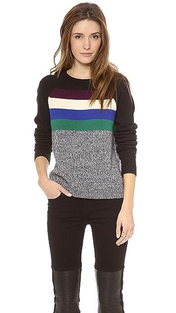 Tibi Stripe Melange Pullover