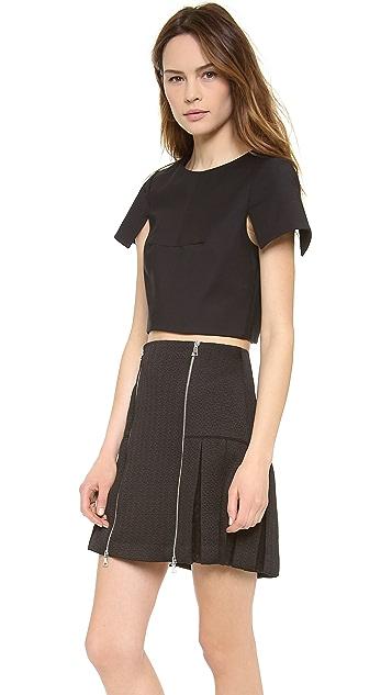 Tibi Short Sleeve Crop Top
