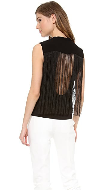 Tibi Fringe Open Back Sleeveless Top
