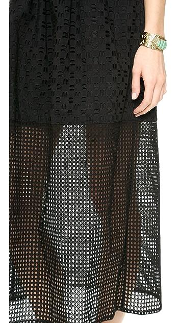 Tibi Eyelet Strapless Maxi Dress
