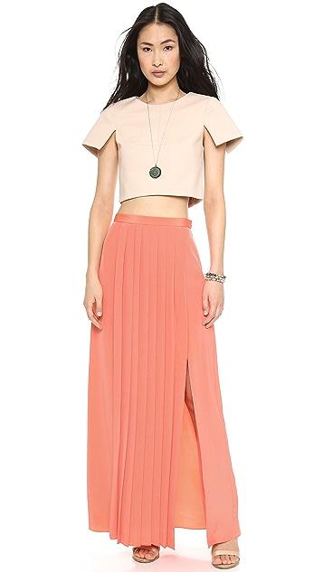 Tibi Pleated Slit Skirt