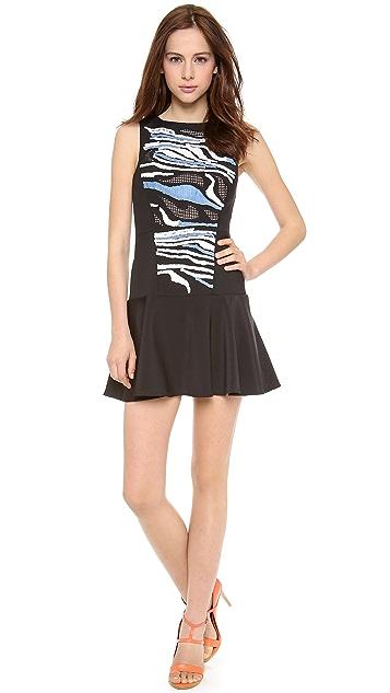 Tibi Baja Embroidery Open Back Dress