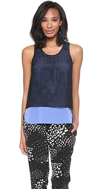 Tibi Double Layer Gauze Tank