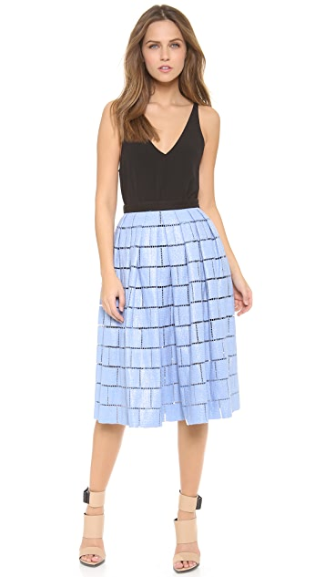 Tibi Raffia Patchwork Party Skirt