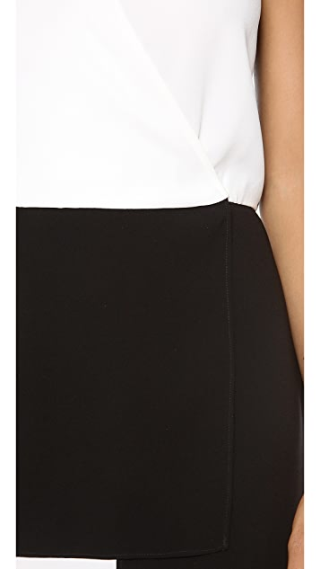 Tibi Bibelot Crepe Wrap Front Dress