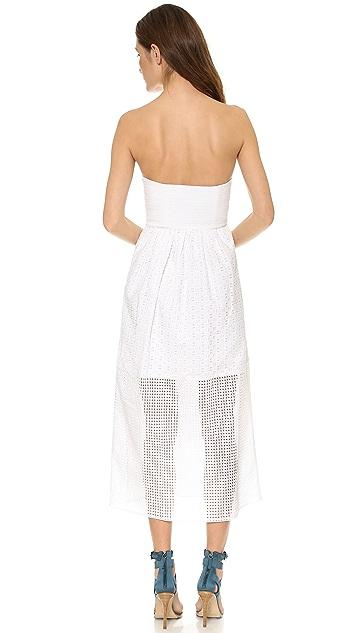 Tibi Kat Eyelet Strapless Maxi Dress