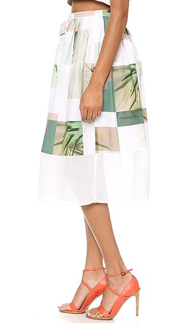 Tibi Fiore di Cactus Skirt with Mesh