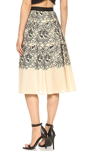 Tibi Embroidered Eyelet Party Skirt
