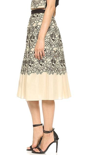 Tibi Embroidered Eyelet Party Skirt