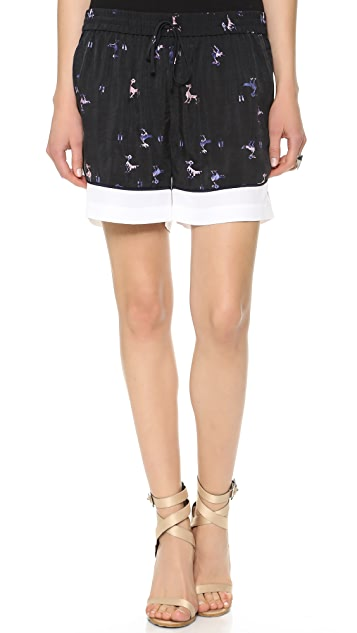 Tibi Rio Print Shorts