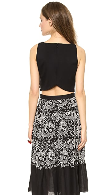 Tibi Embroidered Eyelet Crop Top