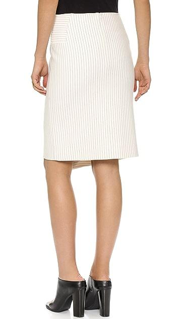 Tibi Asymmetrical Pinstripe Skirt