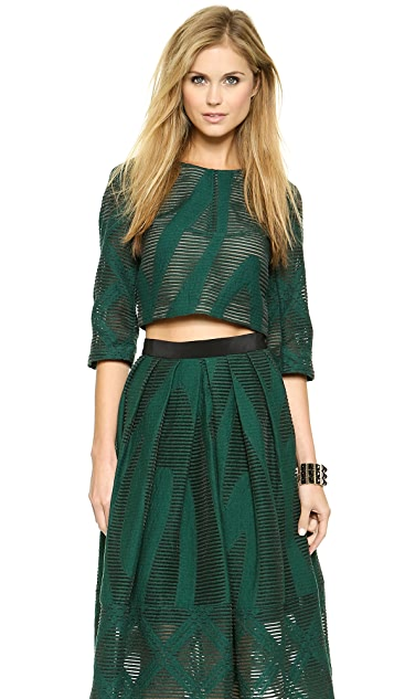 Tibi 3/4 Sleeve Crop Top