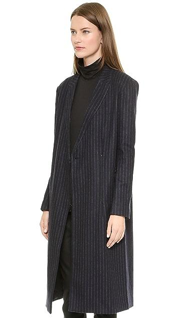 Tibi Maxi Chalk Stripe Coat