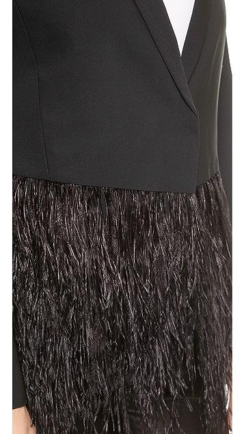 Tibi Feather Tuxedo Blazer