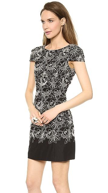Tibi Embroidered Eyelet Cap Sleeve Dress