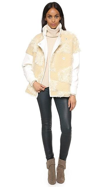 Tibi Faux Fur Patchwork Bomber Jacket