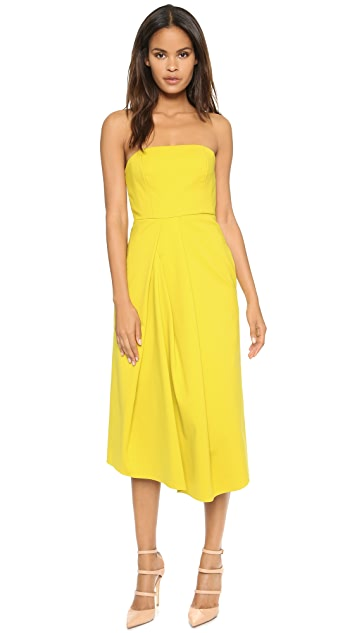 Tibi Asymmetric Drape Strapless Dress