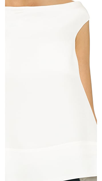 Tibi Off Shoulder Silk Top