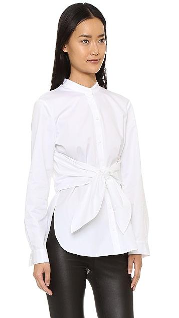 Tibi Poplin Front Cape Tie Shirt