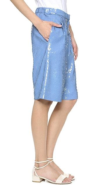 Tibi Allover Sequins Shorts