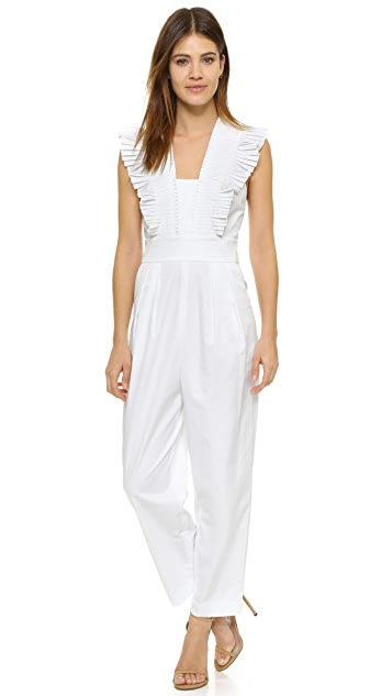 Tibi Pleated Ruffle Culotte Jumpsuit