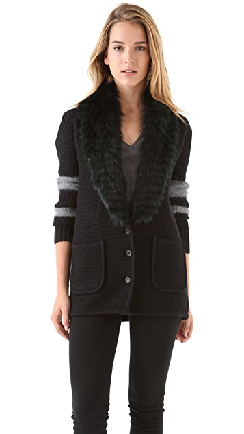 Timo Weiland Haley Cardigan with Fur Collar