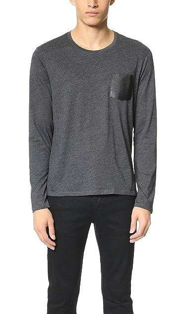 The Kooples Leather Pocket Long Sleeve Tee