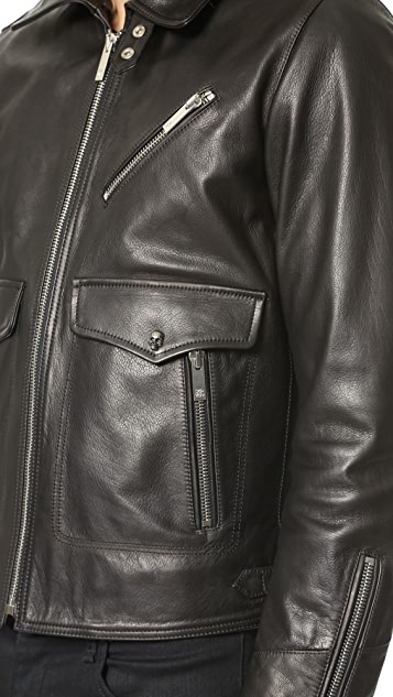 The Kooples Leather Jacket with Shearling