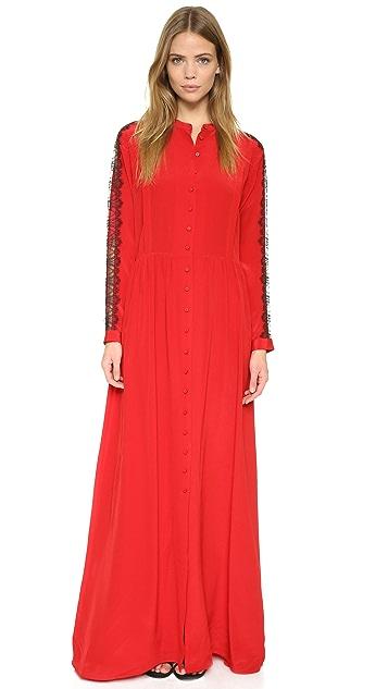The Kooples Long Lace Paneled Silk Dress