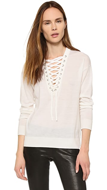 The Kooples Lace Up Merino Top