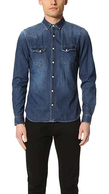 b2a4126a12 The Kooples Used Effect Denim Shirt