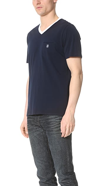 The Kooples Contrast V Neck Tee