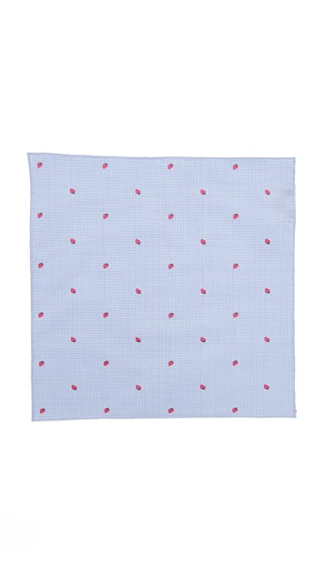 Thomas Mason Strawberry Pocket Square