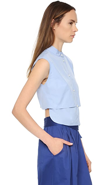 Tome Cotton Poplin Sleeveless Shirt