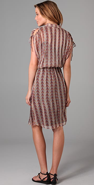 Burning Torch Feathered Short Sleeve Dress
