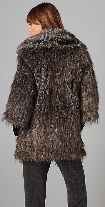 Burning Torch Desert Fox Faux Fur Jacket