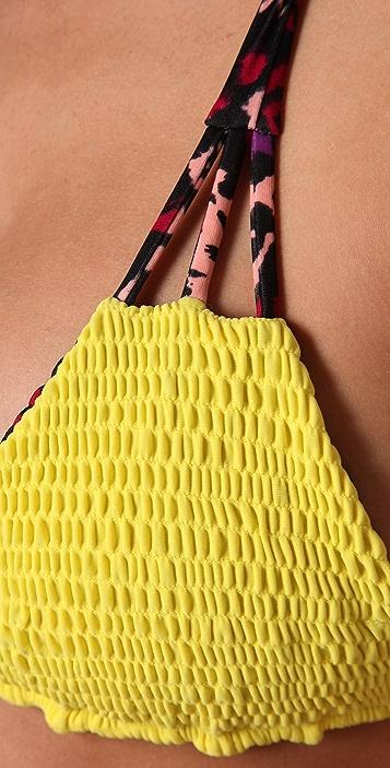 Tori Praver Swimwear Reversible Daisy Bikini Top