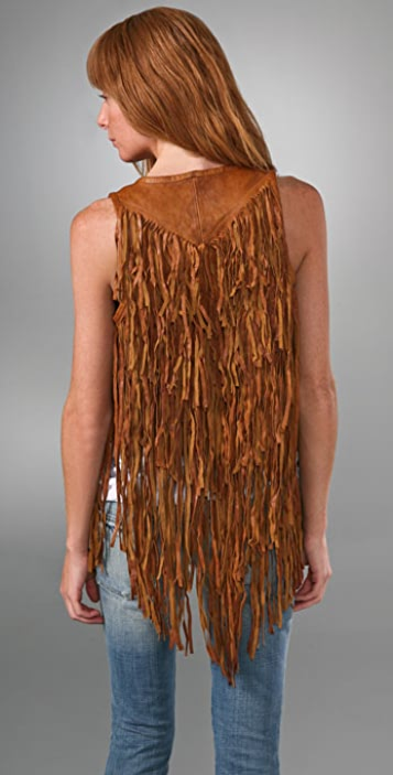 Torn by Ronny Kobo Heidi Leather Vest with Long Fringe