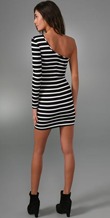 Torn by Ronny Kobo Olivia One Sleeve Stripe Mini Dress