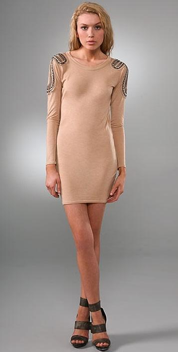 Torn by Ronny Kobo Kate Jeweled Shoulder Dress